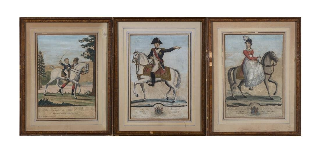 Three Hand-Colored French Engravings