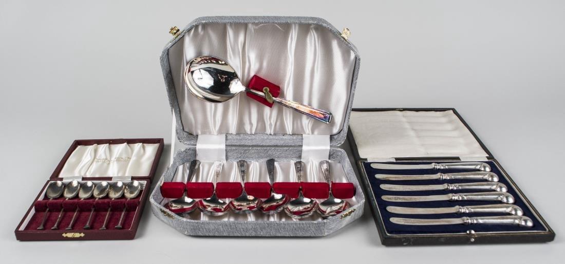 Three English Boxed Sets of Silver Flatware