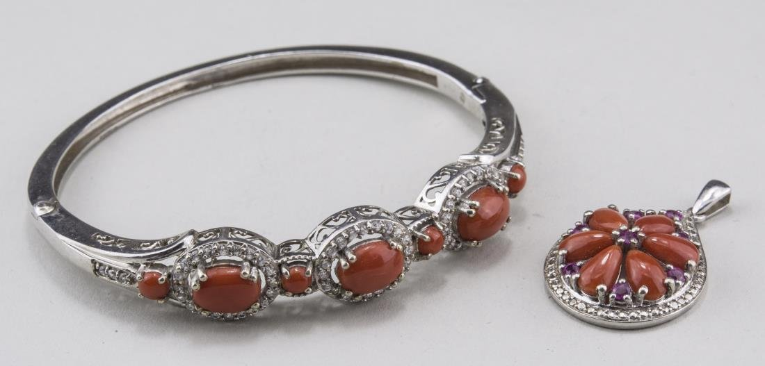 Sterling Silver and Coral Bangle & Pendant Suite