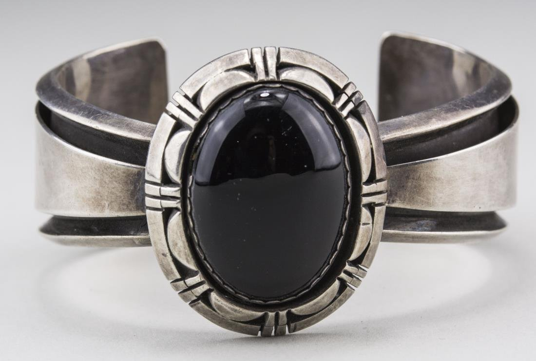 Sterling Silver and Onyx Bangle