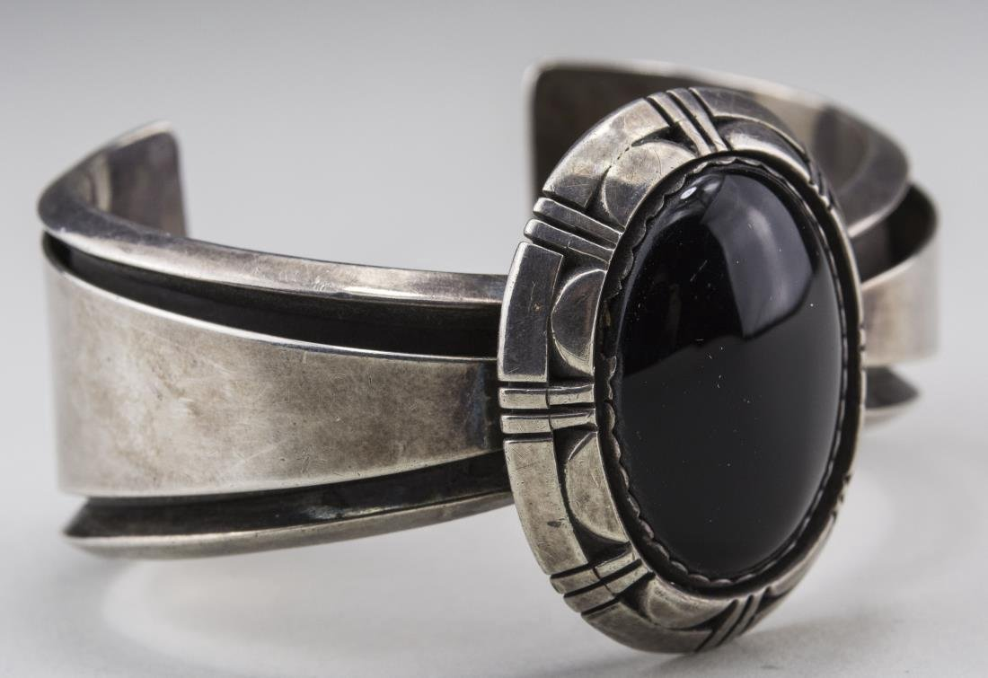 Sterling Silver and Onyx Bangle - 2