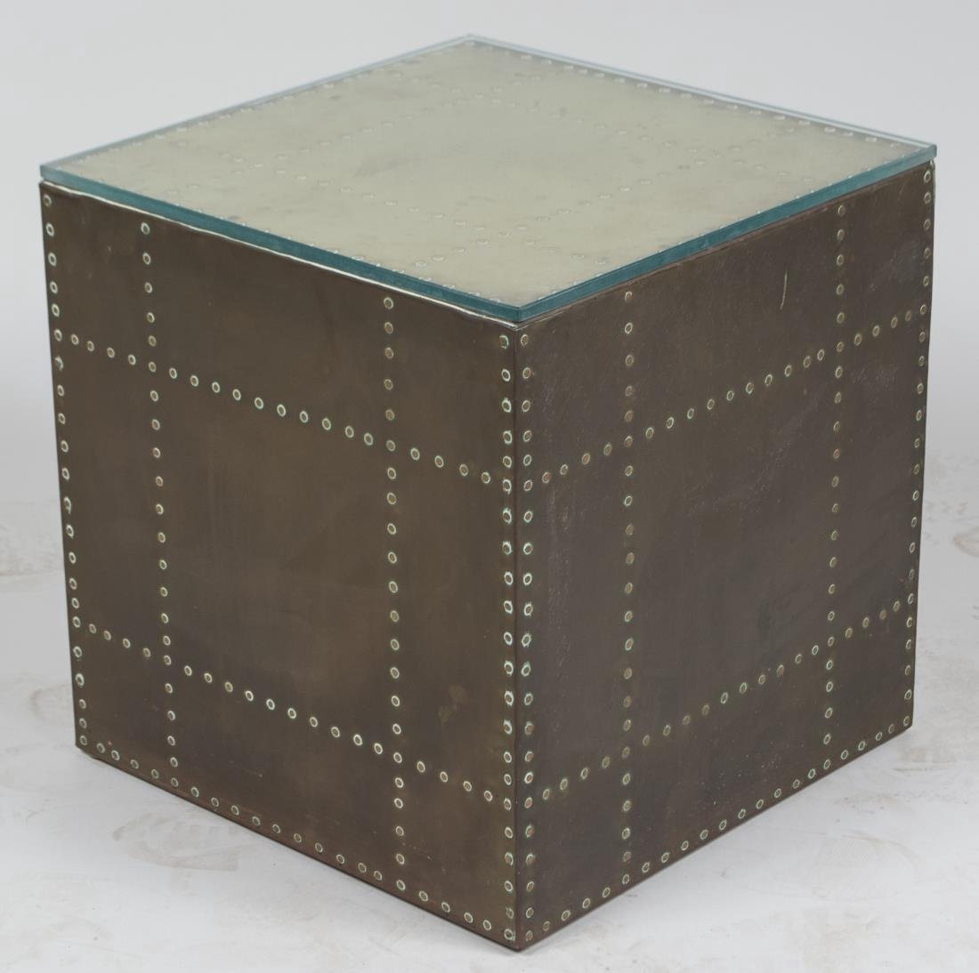 Brass Cube End Table