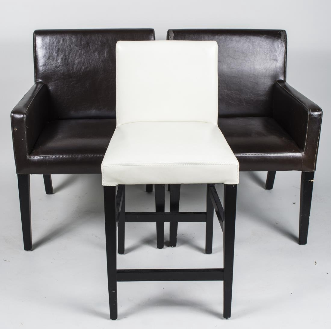 Three Crate & Barrel Leather Chairs