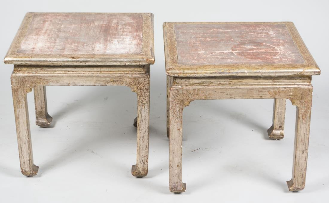 Pair of Silvered Wood Occasional Tables