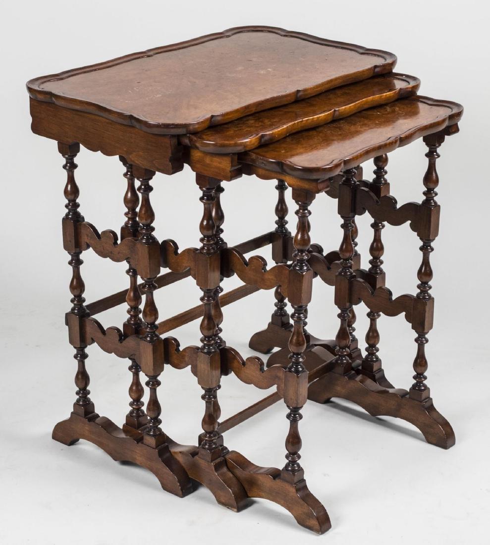 Set of Three Burl Wood Nesting Tables