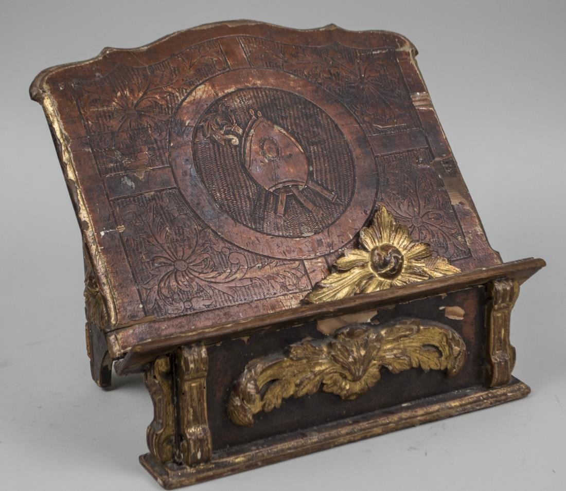 Baroque Style Parcel Gilt and Painted Book Stand