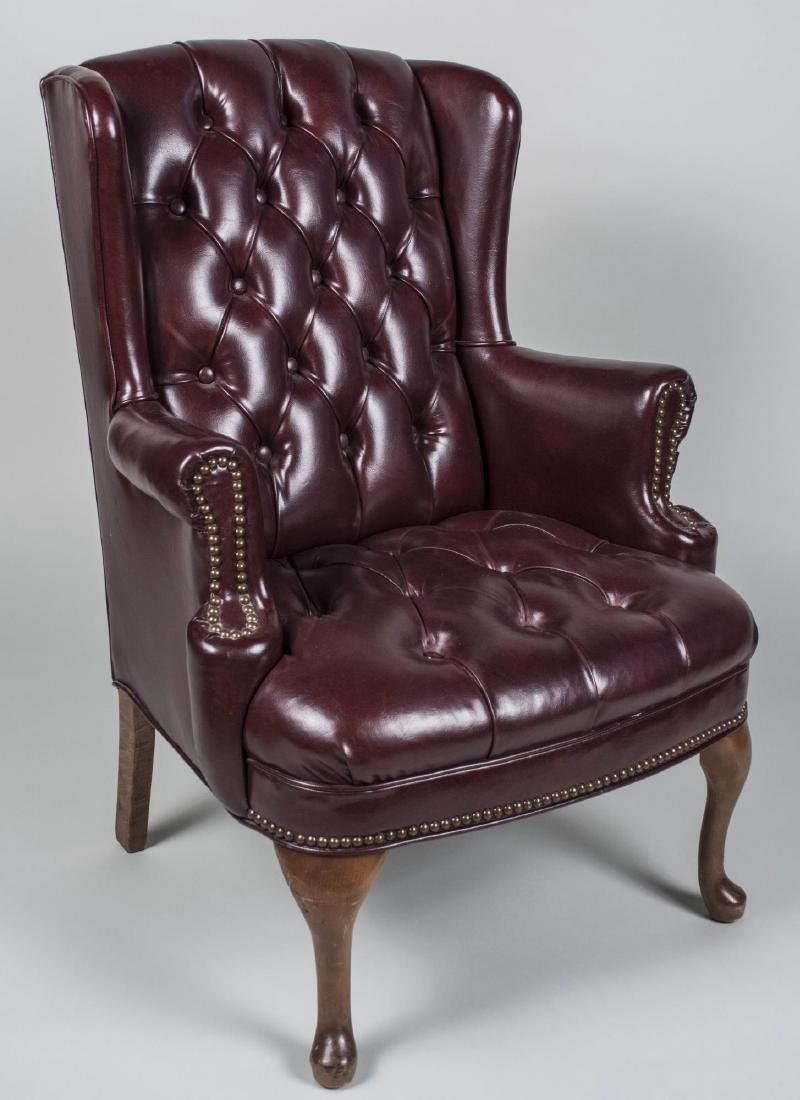 Simulated Leather Wing Chair