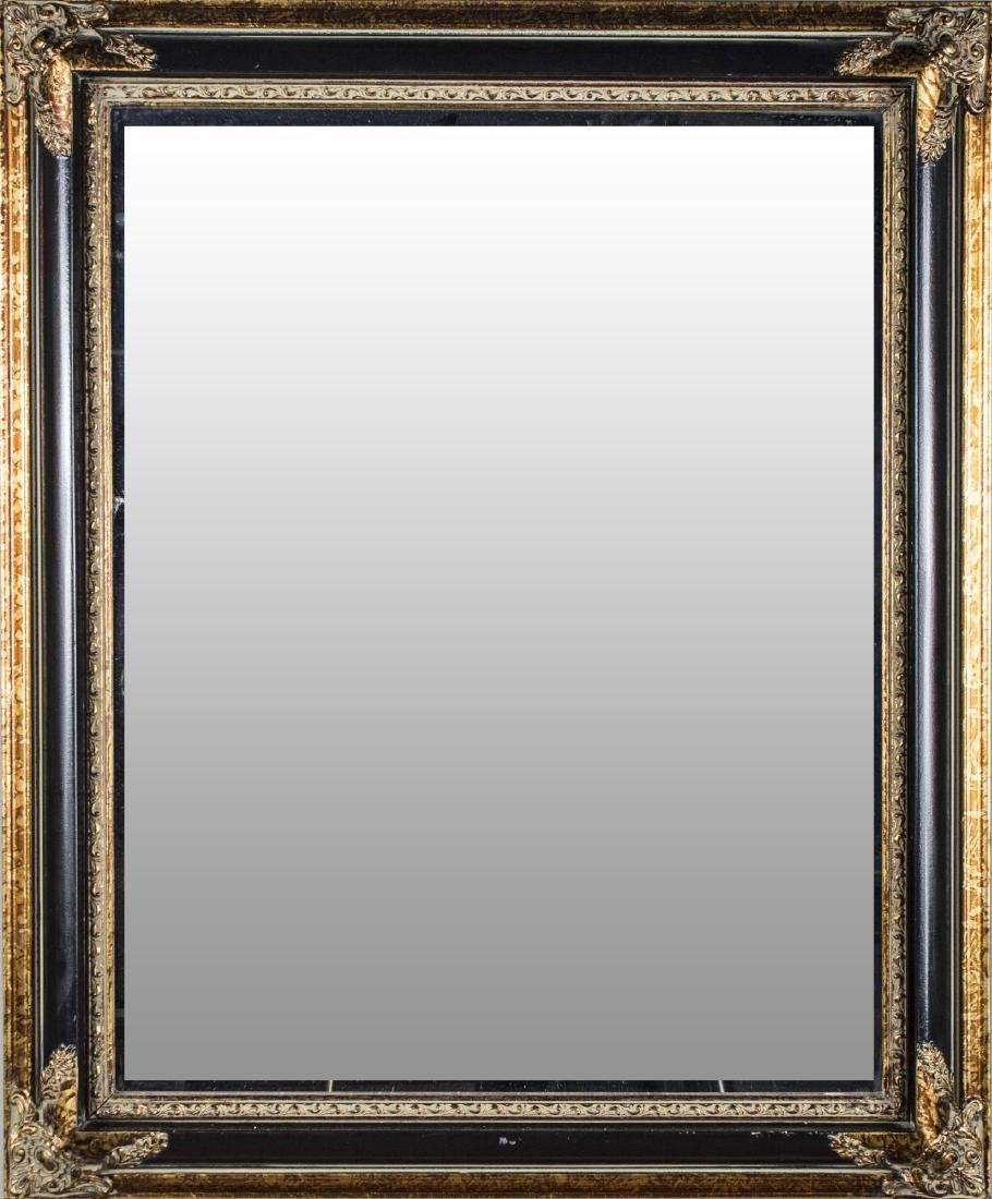 Parcel Gilt and Black Painted Mirror