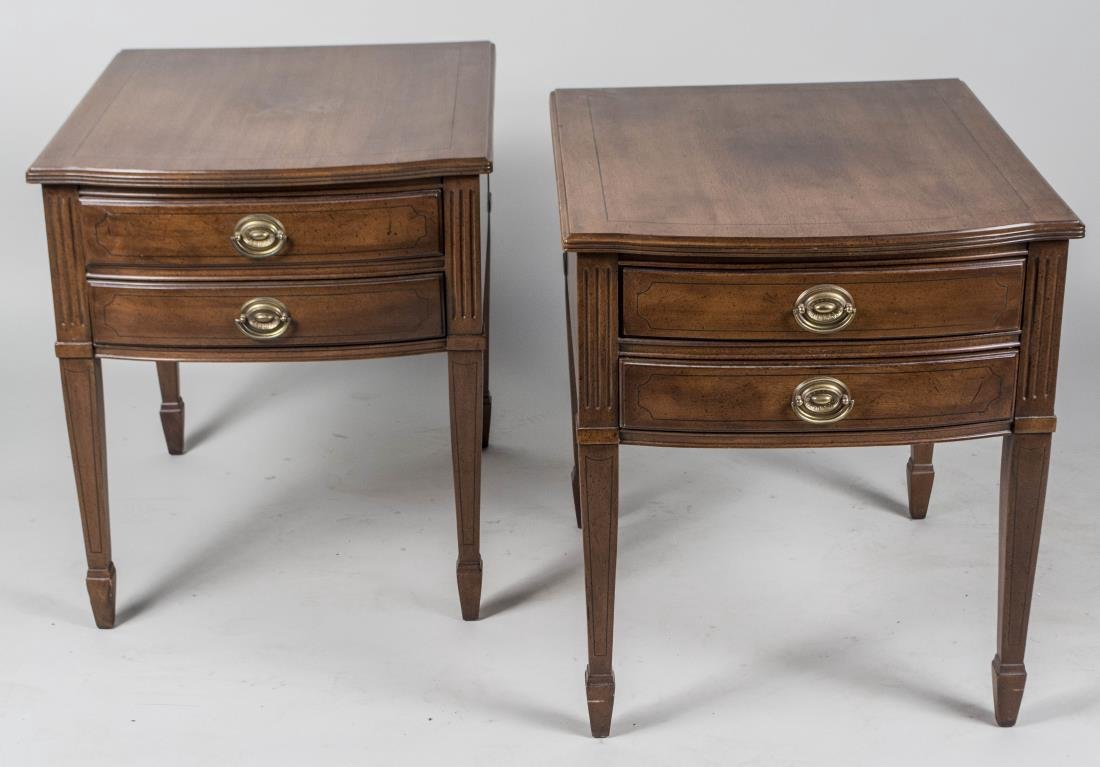 Pair of David Furniture Co. Fruitwood Lamp Tables