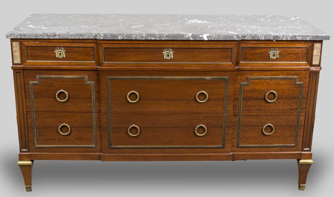 Neoclassical Style Marble Top Side Cabinet