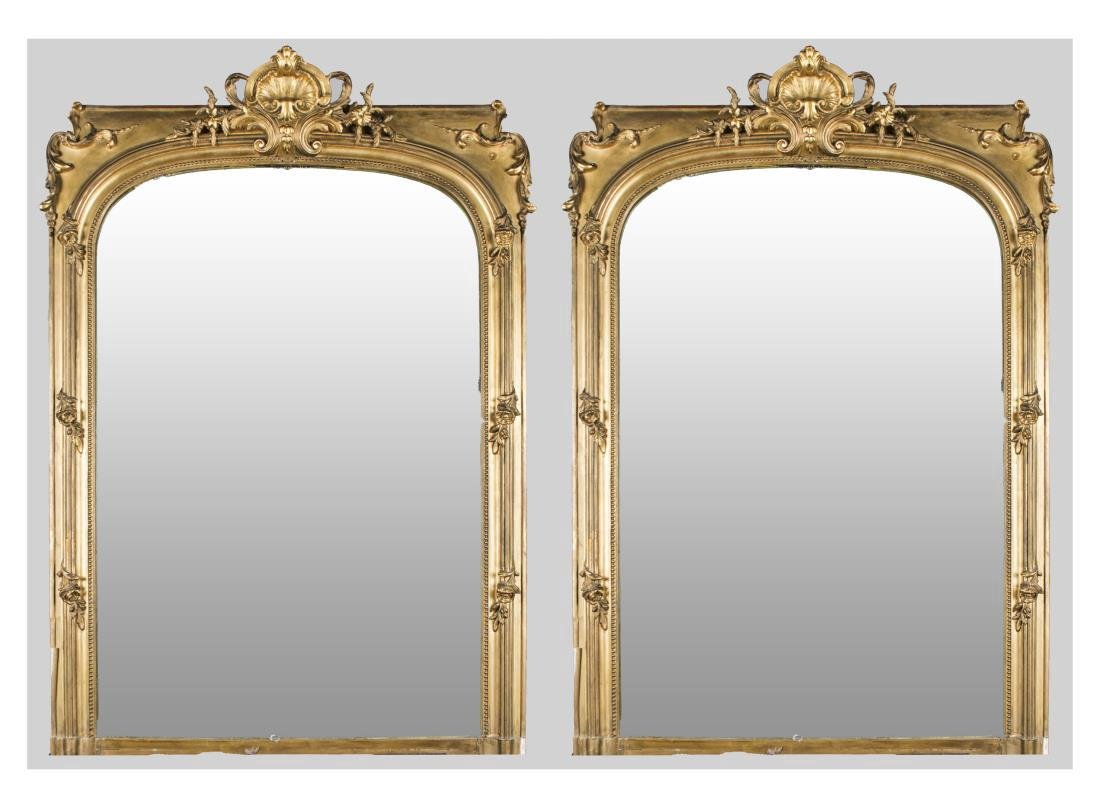 Pair of Neoclassical Style Gilt Wood Mirrors