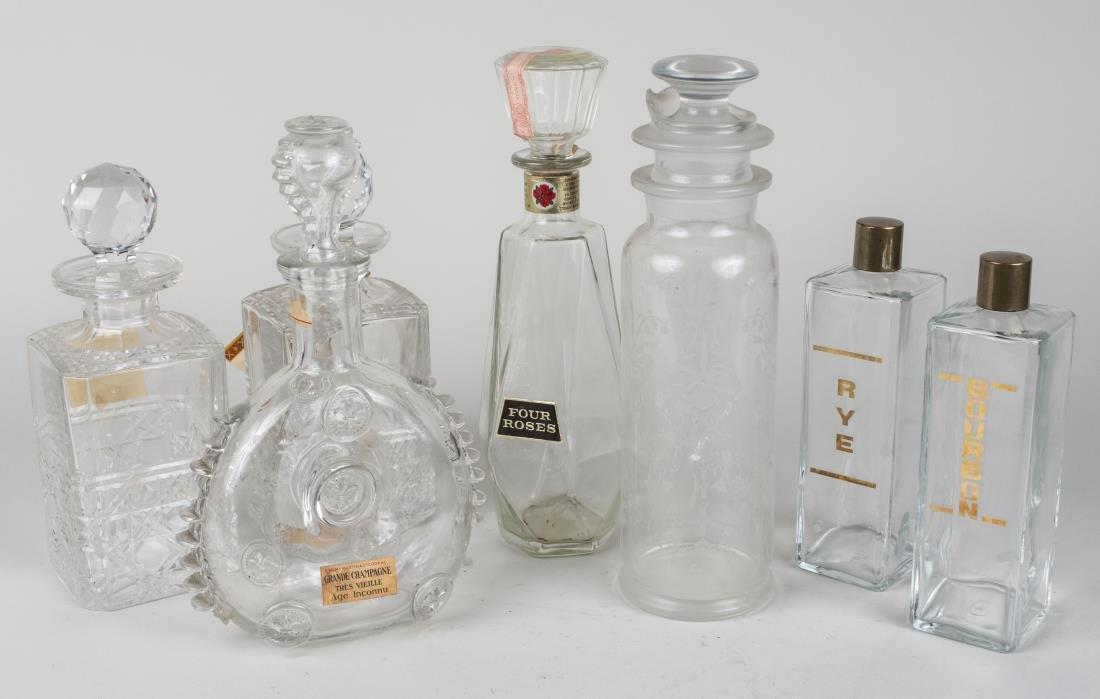 Group of Seven Glass Decanters