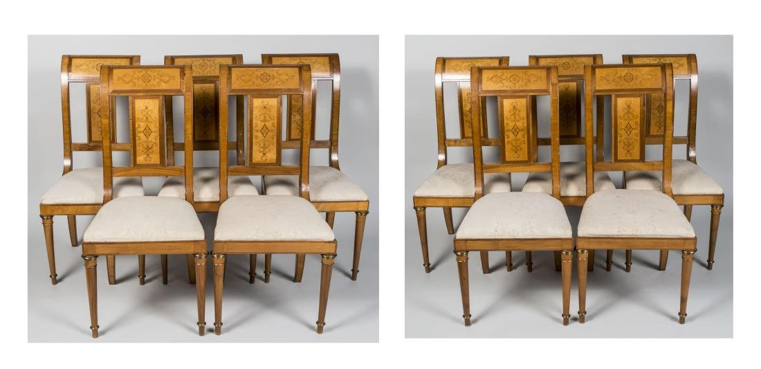 Set of Ten Neoclassical Style Side Chairs