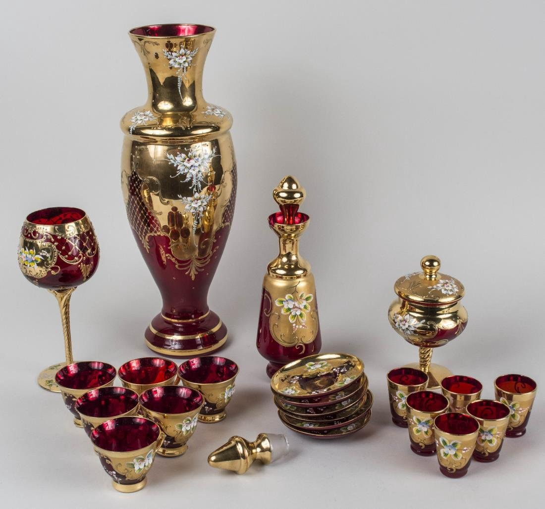 Group of Red Glass Table Articles