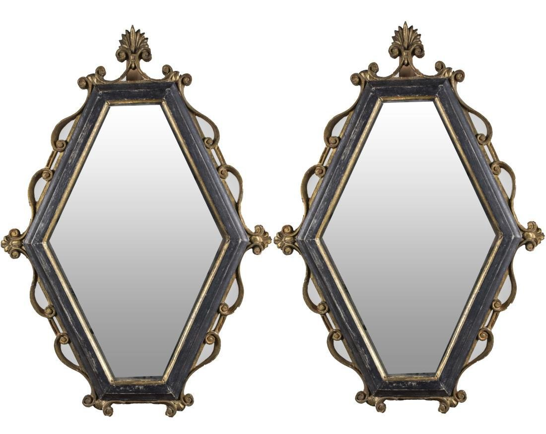 Pair of Neoclassical Style Hexagonal Mirrors