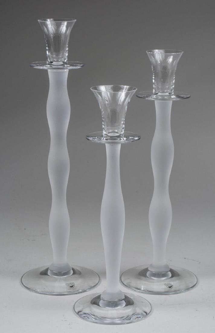 Set of Three Orrefors Celeste Candle Holders