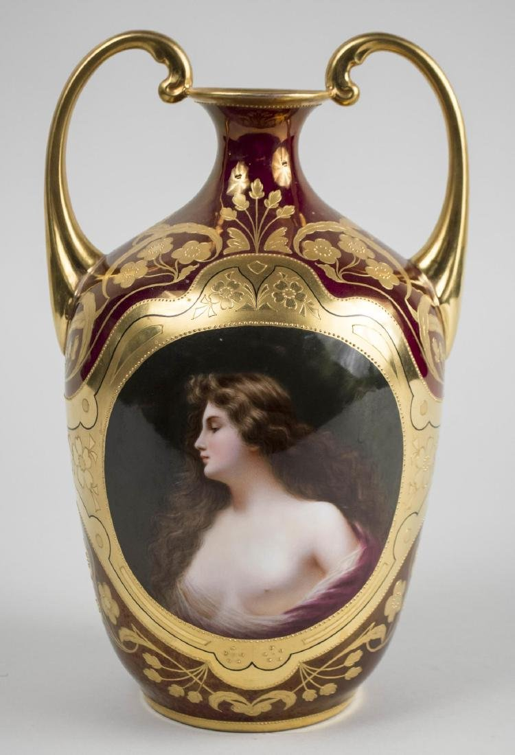 Dresden Porcelain Two Handle Portrait Vase