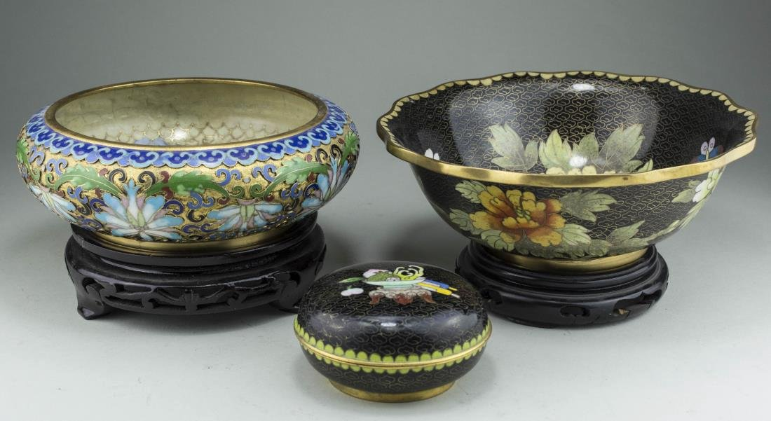 Three Chinese Cloisonne Table Articles