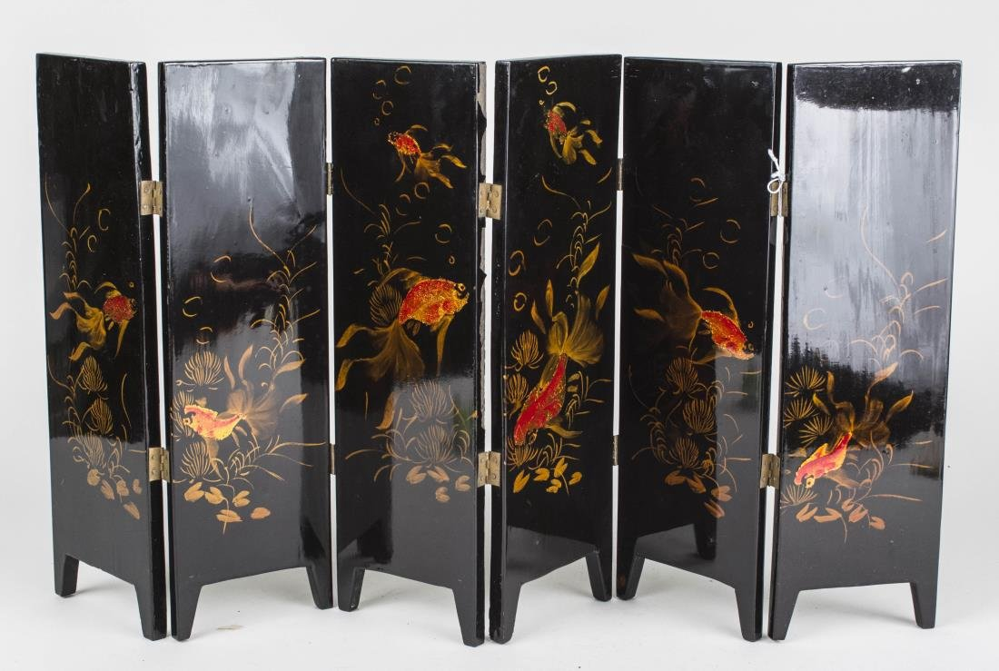 Chinese Lacquered Table Screen - 2