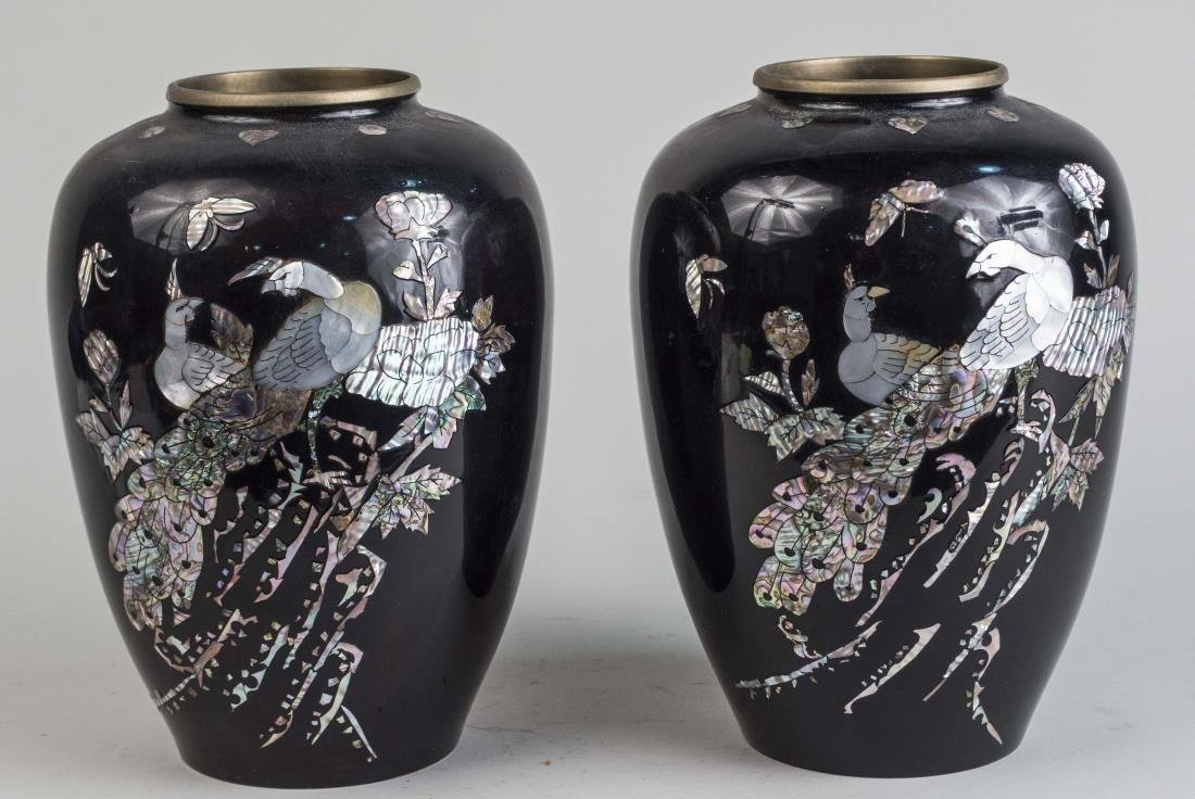 Pair of Asian Patinated Metal Vases