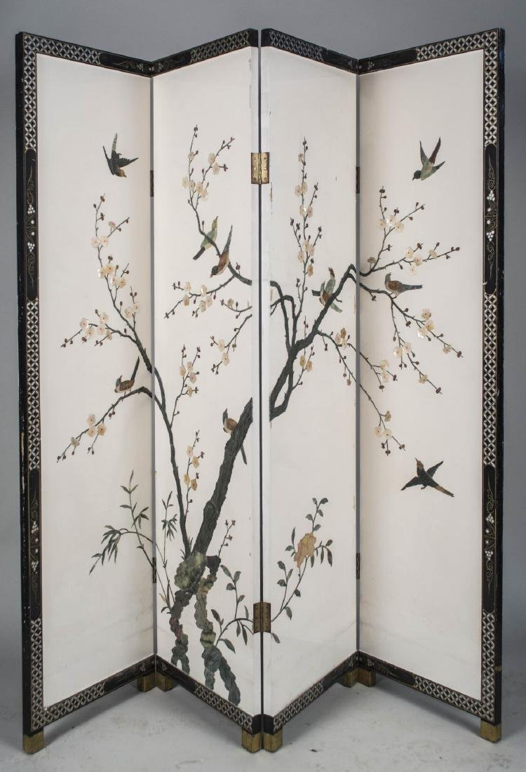Four Panel Lacquered Screen