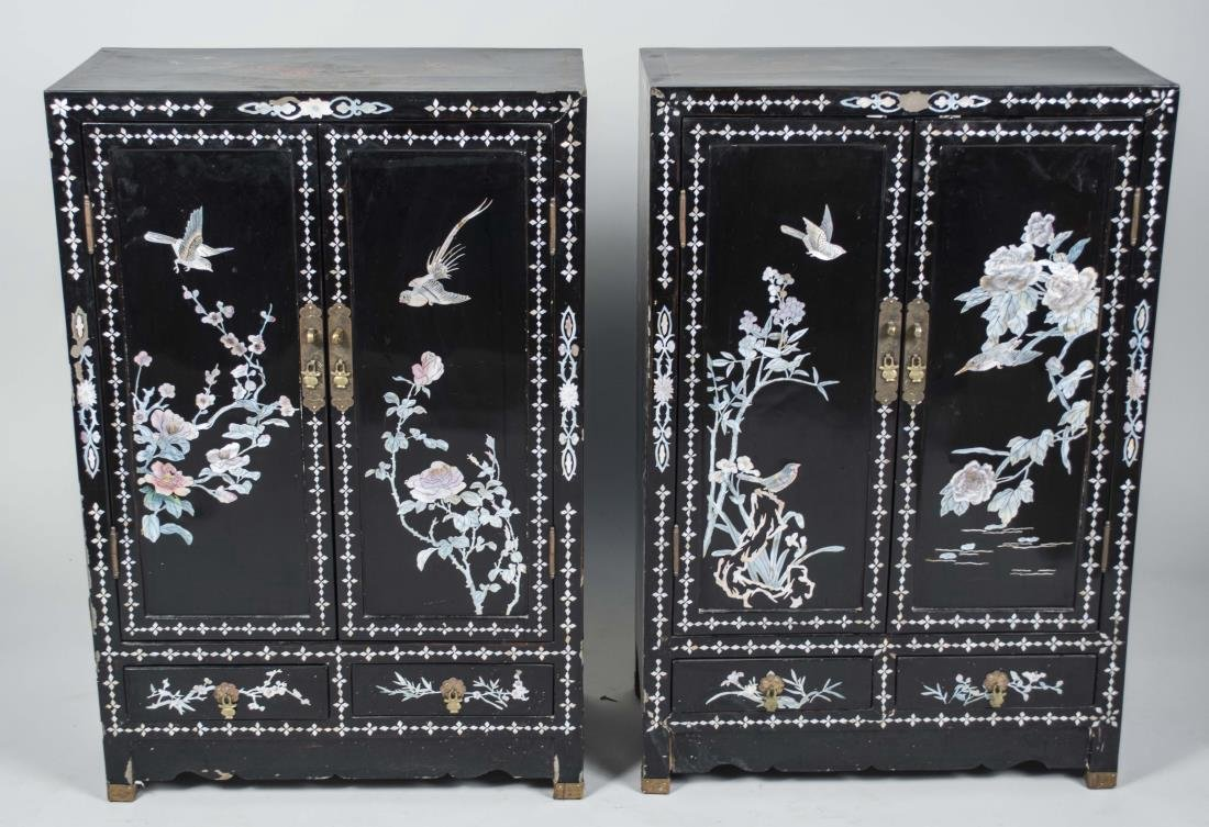 Pair of Chinese Lacquered Cabinets