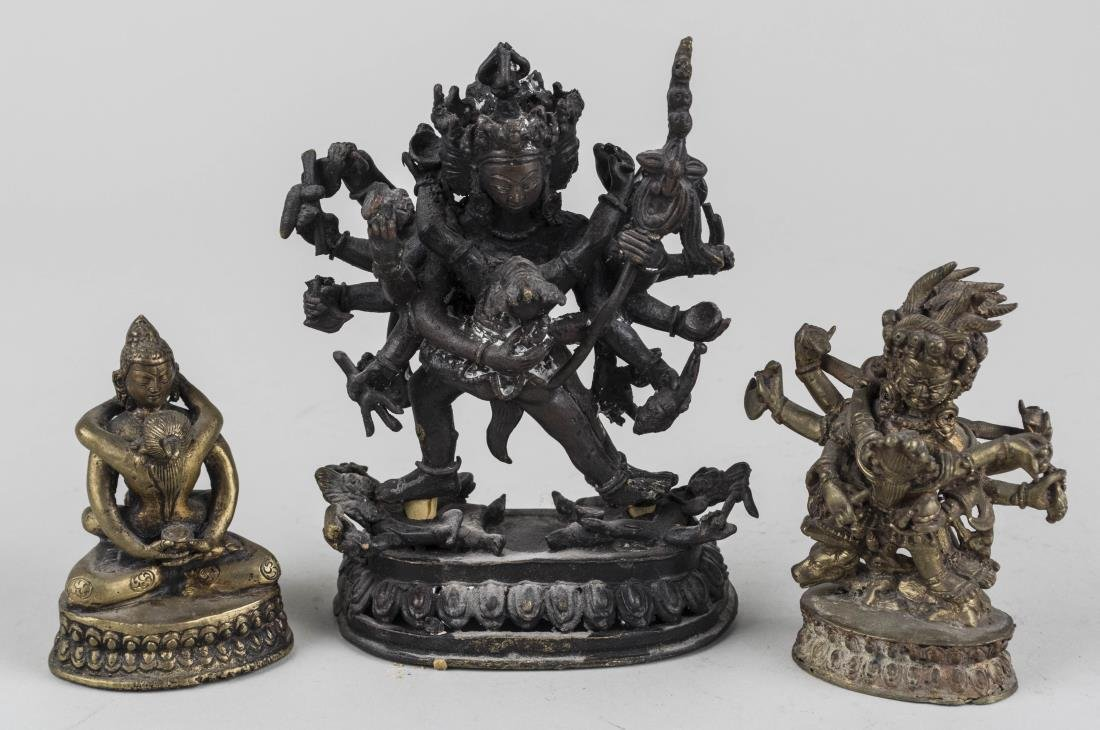 Group of Three Small Asian Deities