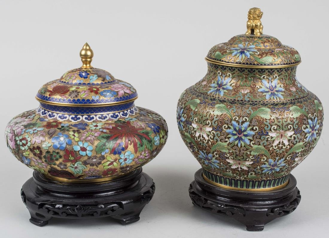 Two Chinese Cloisonne Covered Jars