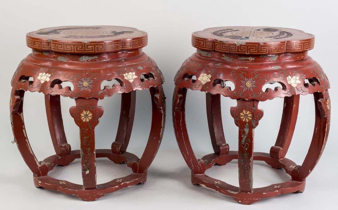 Pair of Chinese Red Lacquered Low Tables