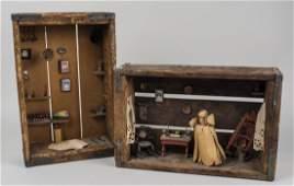 Pair of Folk Art Dioramas