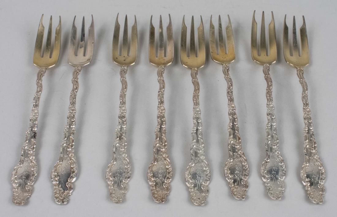 """Set of Eight Durgin Sterling Hors d""""Oeurve Forks"""