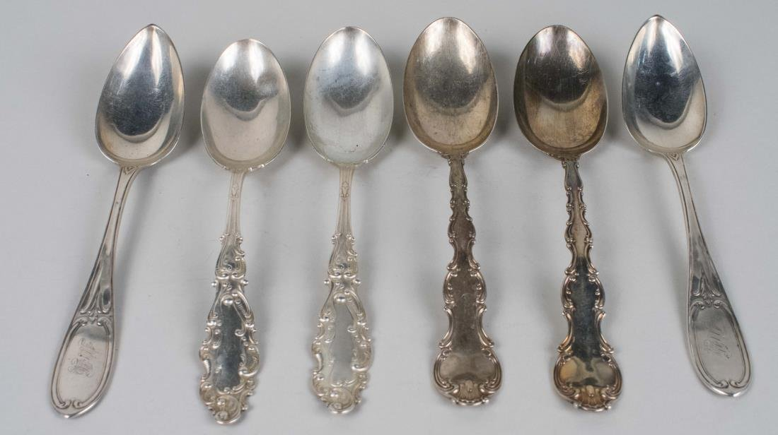 Three Pairs of Sterling Silver Serving Spoons