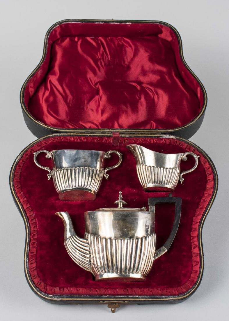 English Three Piece Silver Plated Tea Set