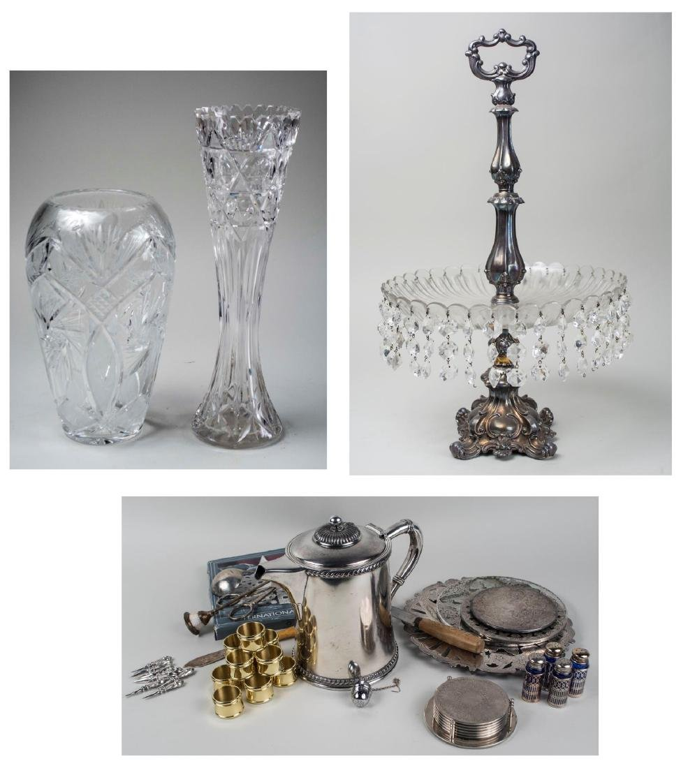 Group of Silver Plated and Glass Table Decorations