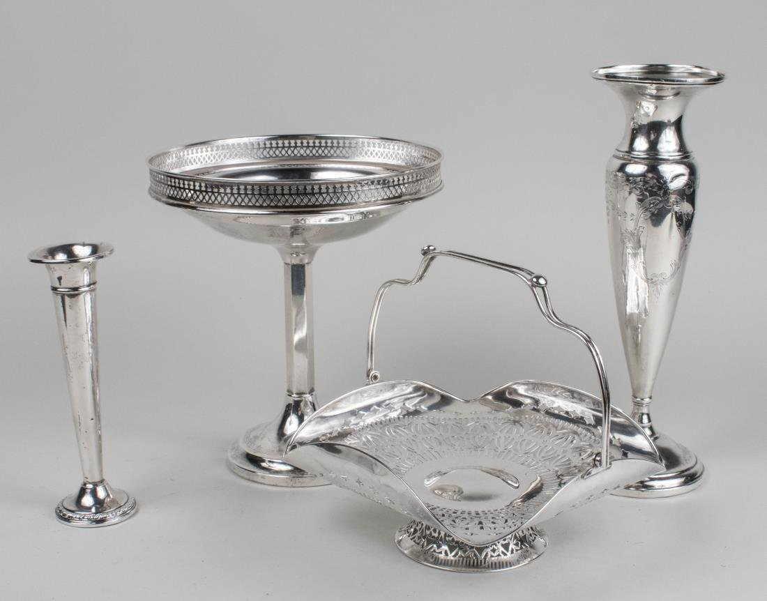 Group Sterling & Silver Plated Table Decorations