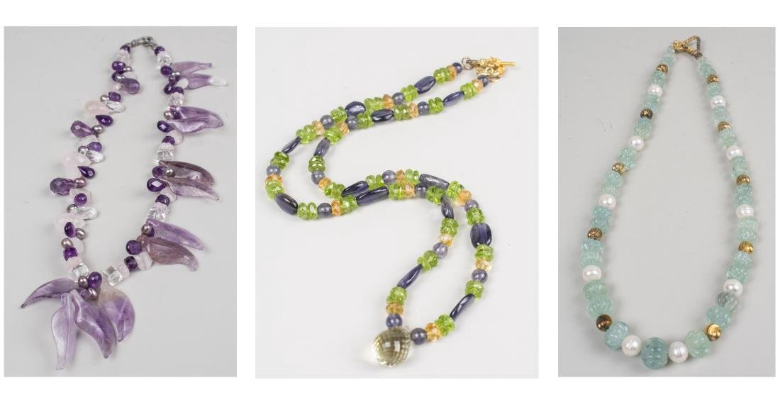 Three Gemstone Bead Necklaces