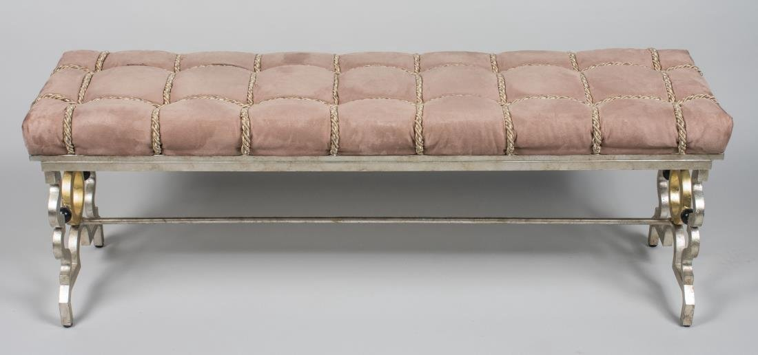 French Upholstered Iron Bench