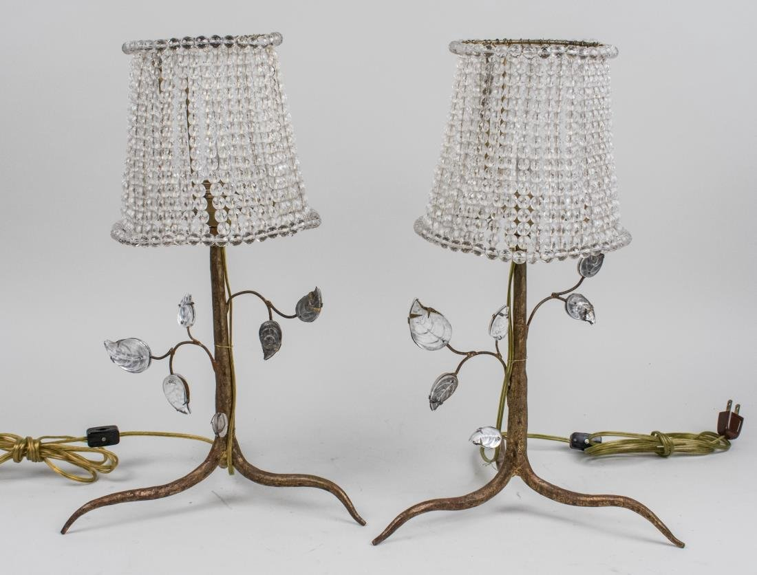 Pair of French Bagues Style Glass Lamps