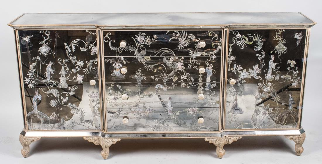 French Verre Eglomise Side Cabinet