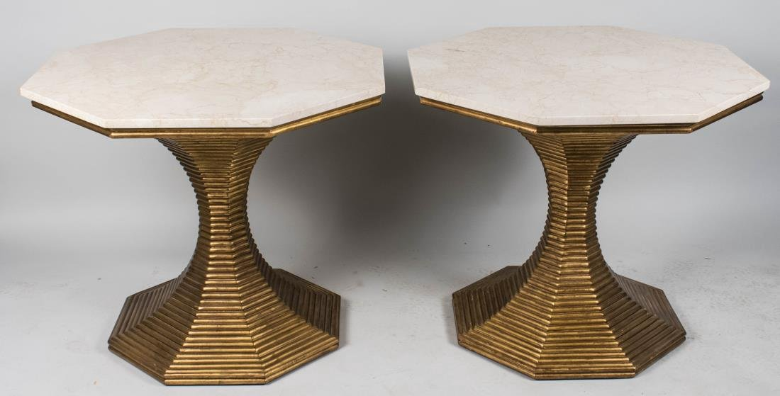 Pair of Octagonal Top Hourglass Tables