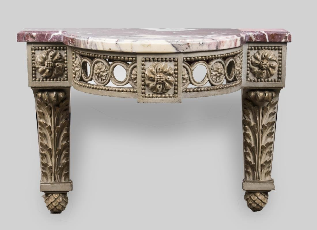 Diminutive Marble Top Painted Console