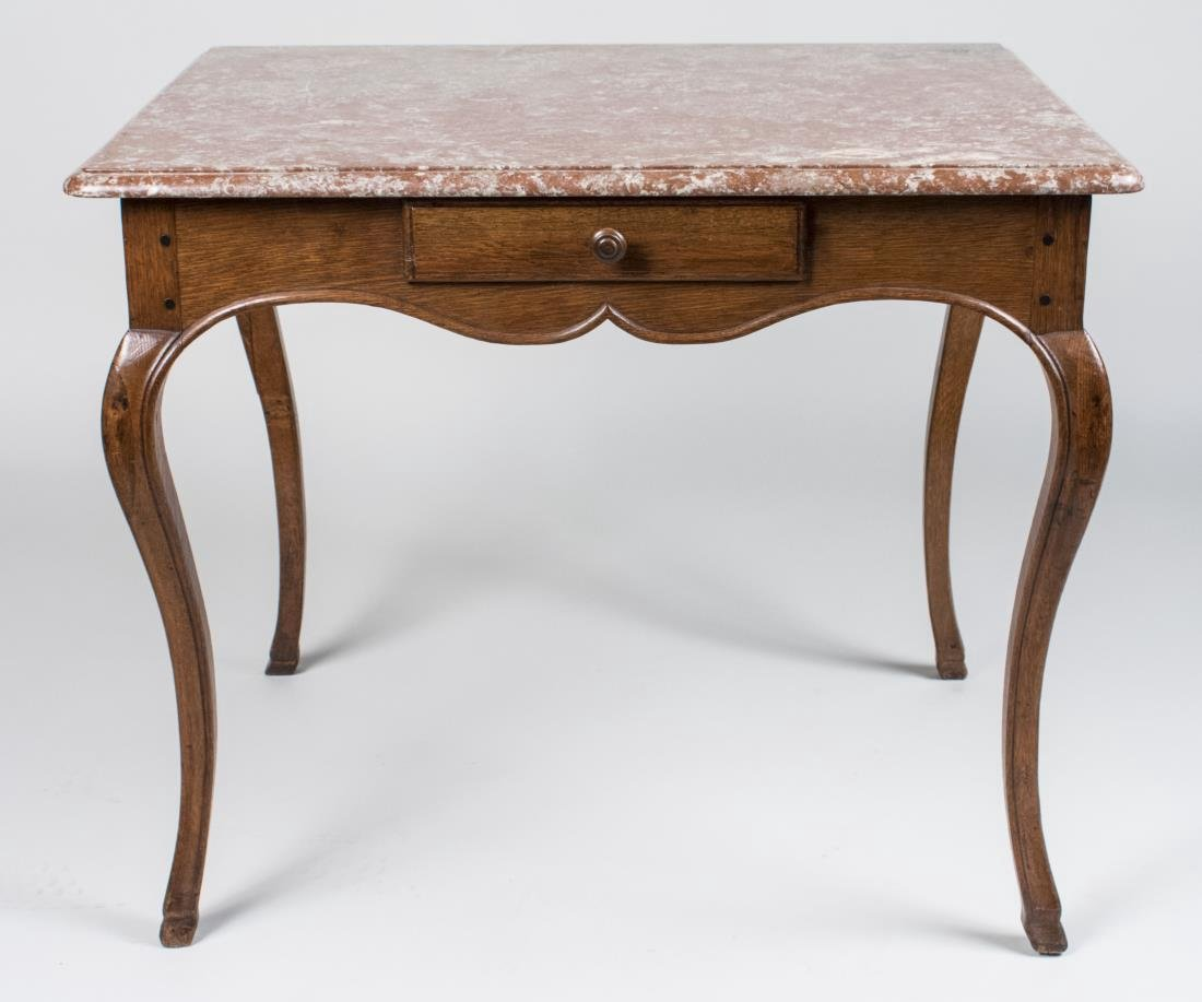 French Marble Top Walnut Table