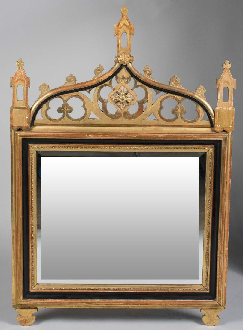 Gothic Revival Style Parcel Gilt Mirror