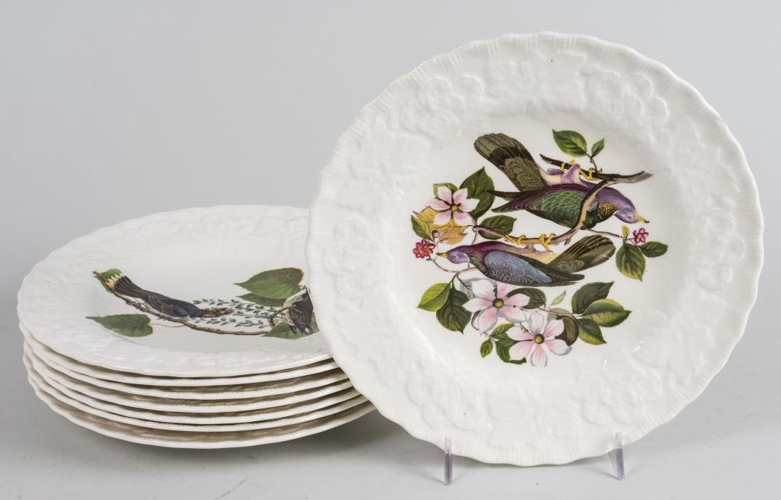 Set of Eight Pottery Birds of America Plates