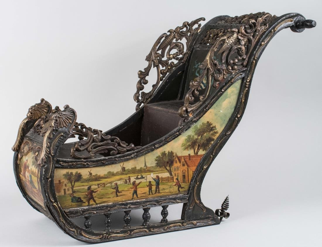 Dutch Painted Wood Sleigh