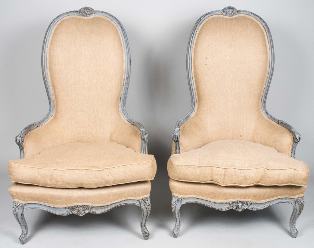 Pair of Louis XV Style Tall Back Painted Chairs