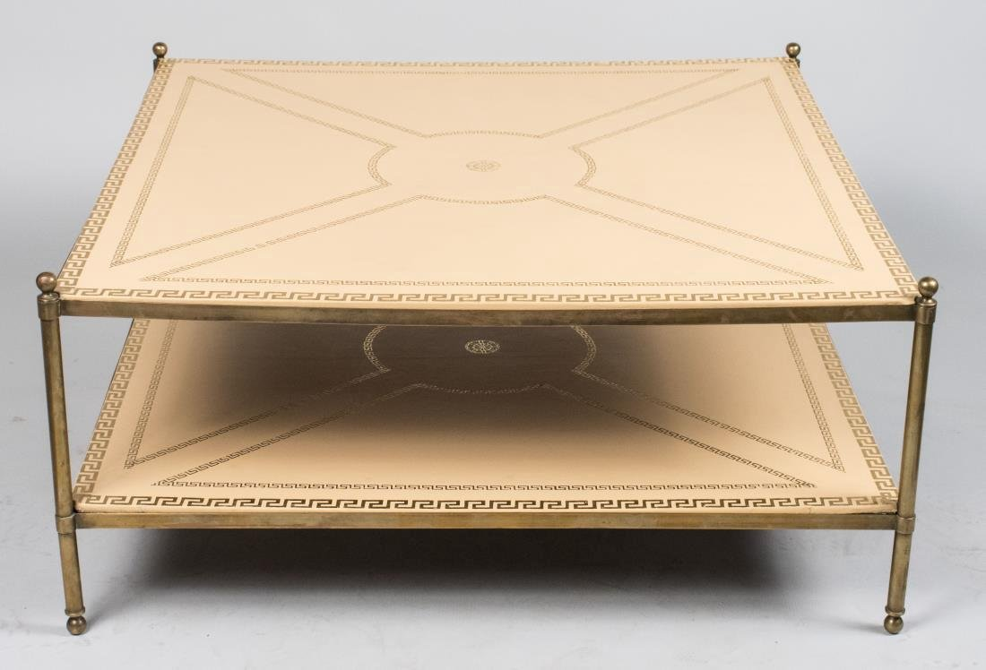 Brass and Leather Two Tier Coffee Table