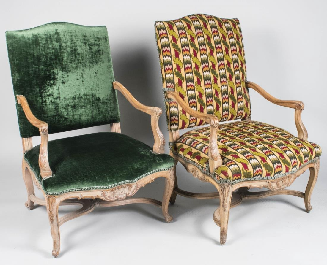 Near Pair of French Regence Style Armchairs