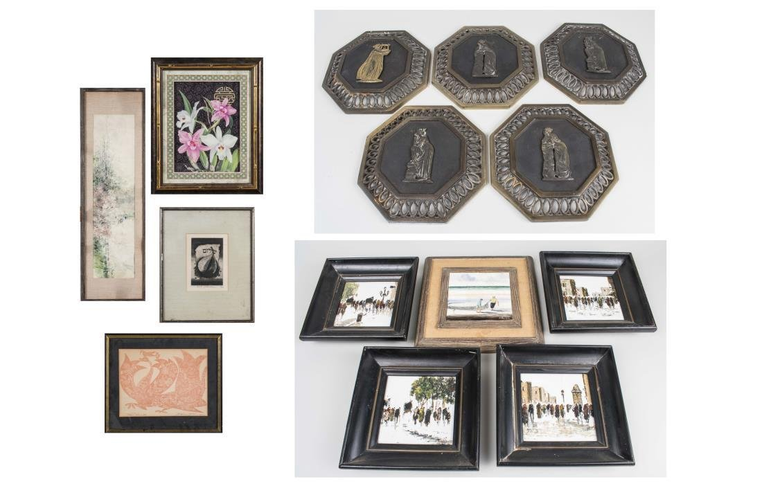 Group of Decorative Pictures, Tiles and Plaques