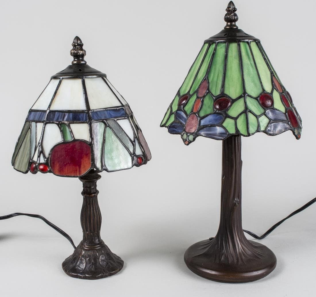 Two Tiffany Style Leaded Glass Lamps
